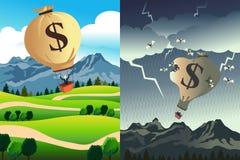 Success Versus Bankruptcy. A vector illustration of success versus bankruptcy Royalty Free Stock Images