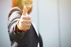 Success! Victory! Happy successful red-haired girl boss, busines Stock Photography