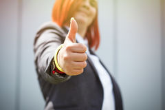 Success! Victory! Happy successful red-haired girl boss, busines Stock Photo