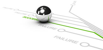 Success vs failure. Many lines with green success word and grey failure words Chrome ball over the successful line, white background vector illustration