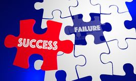 Success Vs Failure Words Puzzle Piece Filling Hole. 3d Illustration Royalty Free Stock Image