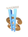 Success way. 3d render of golden dollar with way to success vector illustration