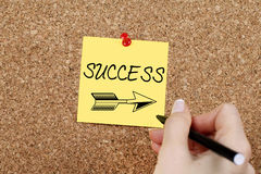 Success. This way concept on cork Stock Images