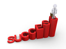 Success way to the top for businessman. Success letters as steps and a businessman on the top Stock Images