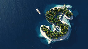 Success way. Tropical island in the form of dollar Stock Image