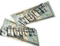 Success and Wealth. 20 dollar bills with success and wealth on top Royalty Free Stock Photo