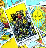 King of Pentacles Tarot Card Wealth Midas Touch Luxury Business Empire Successful Business Master Qualifications M stock illustration