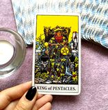 King of Pentacles Tarot Card Wealth Midas Touch Luxury Business Empire Successful Business Master Qualifications M. Success Wealth Midas Touch Luxury Business stock photos