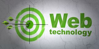 Web development concept: target and Web Technology on wall background Stock Photo