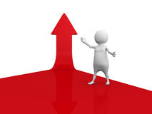 Success White 3d Man On Red Growing Arrow Stock Photos