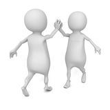 Success white 3d people. give me five Royalty Free Stock Images
