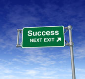 Success win Freeway Exit Sign highway street symbo stock image
