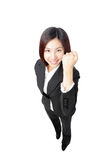 Success winner business woman full length Stock Photos