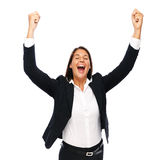 Success winner businesswoman. Business woman racing her arms.   Isolated on a white background Stock Images