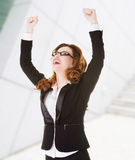 Success, winner businesswoman. With fists up Stock Photography