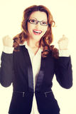 Success, winner businesswoman. With fists up Stock Images