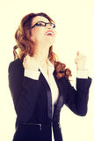 Success, winner businesswoman. With fists up Royalty Free Stock Photos
