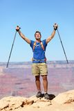 Success winner hiker cheering happy Royalty Free Stock Photos