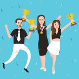 Success winner team get award prize three people celebrate trophy victory Royalty Free Stock Photos
