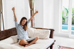 Success, Winning. Woman Celebrating Victory, Working Using Computer Royalty Free Stock Image