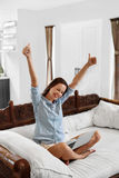 Success, Winning. Woman Celebrating Victory, Working Using Computer Stock Image