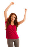 Success - woman gesturing victory with her hands raised in the a Royalty Free Stock Photo