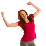 Success - woman gesturing victory with her hands raised in the a Stock Images