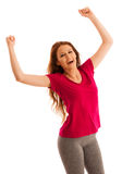 Success - woman gesturing victory with her hands raised in the a Stock Photography