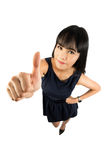 Success woman giving thumbs up sign. Royalty Free Stock Photos