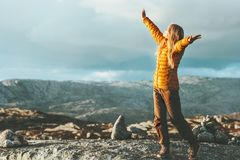 Success Woman happy emotions outdoor in mountains. Travel healthy Lifestyle concept raised hands girl scandinavian journey adventure Royalty Free Stock Photography