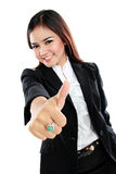 Success woman isolated giving thumbs up sign Stock Photos
