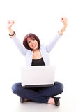 Success - woman on laptop Stock Photography