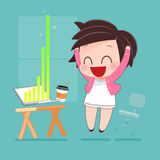Success. Woman, Office, Triumph, Winning And Mony Concept - Happy Businesswoman With Computer In Office, Idea Concept With Cartoon Design, Vector Illustration Royalty Free Stock Photo