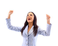 Success woman screaming Stock Photography