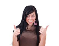 Success woman showing thumbs up Stock Photos