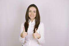 Success woman thumbs up Stock Photo