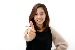 Success woman thumbs up Stock Image