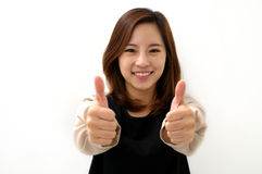 Success woman thumbs up Stock Images