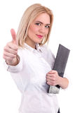 Success woman thumbs up for Agreeing - Stock Image Royalty Free Stock Photos