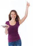 Success, woman and touchpad Royalty Free Stock Photography