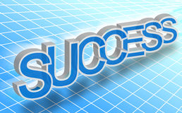 Success word. 3d half-transparent success word over checked blue background Stock Illustration