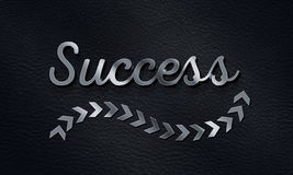 Success Word with arrow sign Background, 3D Metallic Text Effect Stock Photography
