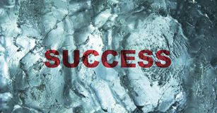 The Success word behind the ice wall background. Bussiness concept. stock images