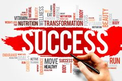 SUCCESS. Word cloud, fitness, sport, health concept Royalty Free Stock Images