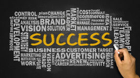 Success word cloud handwritten on blackboard Royalty Free Stock Photos