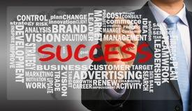 Success word cloud handwritten by businessman Stock Photos