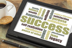 Success word cloud on tablet Royalty Free Stock Images