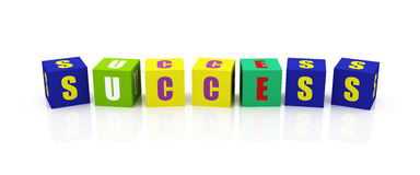 SUCCESS Word Cubes Stock Images