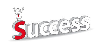 Success. Word Success in a 3D style with Joe the businessman. Ideal for a title. It illustrates the concept of  the success Royalty Free Stock Photos
