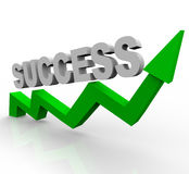 Success Word on Green Growth Arrow royalty free illustration